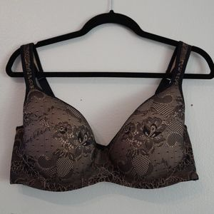Cacique 42DD Black Lace Full Coverage Bra